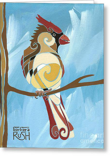 Moms Day Off Female Cardinal Painting Greeting Card