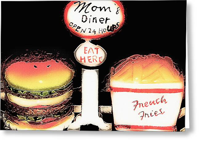 Mom's Diner - Open 24 Hours Greeting Card by Steve Ohlsen