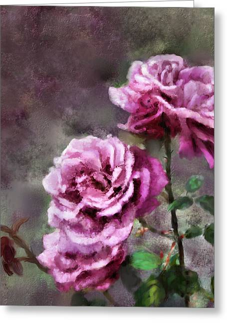 Greeting Card featuring the digital art Moms Roses by Susan Kinney