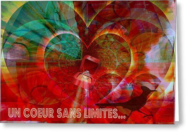 Greeting Card featuring the digital art Mon Coeur - My Heart by Fania Simon