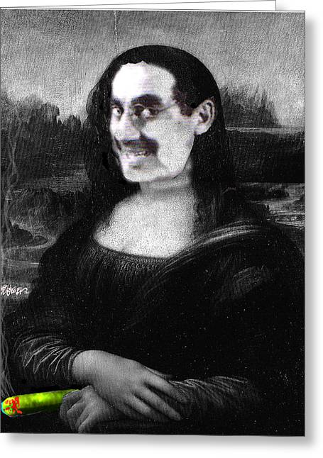 Groucho Marx Digital Art Greeting Cards - Mona Grouchironi Greeting Card by Seth Weaver