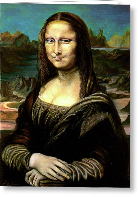 Photoshop Pastels Greeting Cards - Mona Lisa my version Greeting Card by Elisabeth Dubois