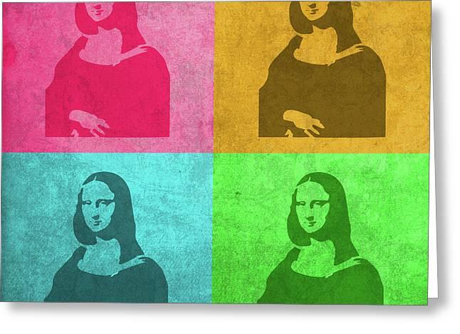Mona Lisa Painting Vintage Pop Art Greeting Card by Design Turnpike