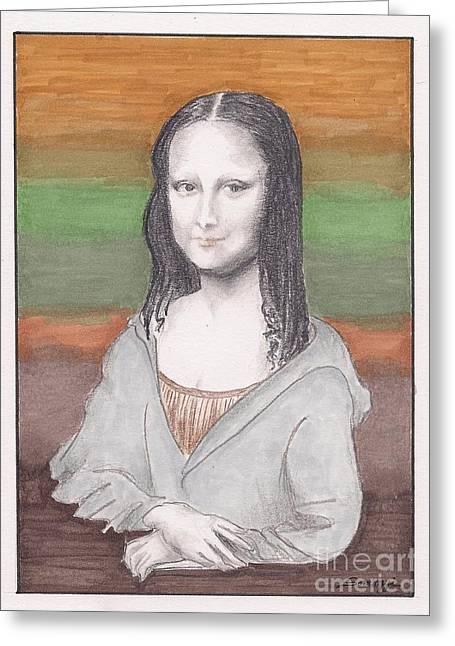 Mona Lisa, Redux, In Gray Hoodie -- Whimsical Redo Of The Mona Lisa Greeting Card