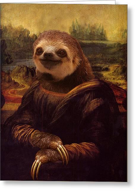 Mona Lisa Sloth Greeting Card