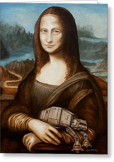 Greeting Card featuring the painting Mona Lisa What You Smiling At At by Al  Molina