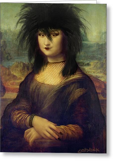Mona Sheena - Surreal Pop Punk Portrait Greeting Card by Big Fat Arts