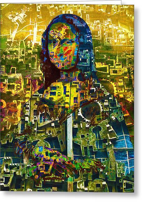 Greeting Card featuring the mixed media Mona by Tony Rubino