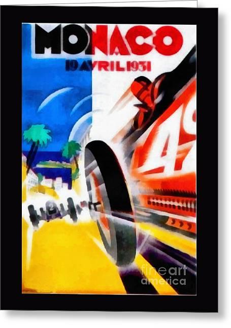 Monaco 1931 Car Race Poster Greeting Card by Edward Fielding