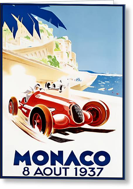 Monaco Grand Prix 1937 Greeting Card by Georgia Fowler