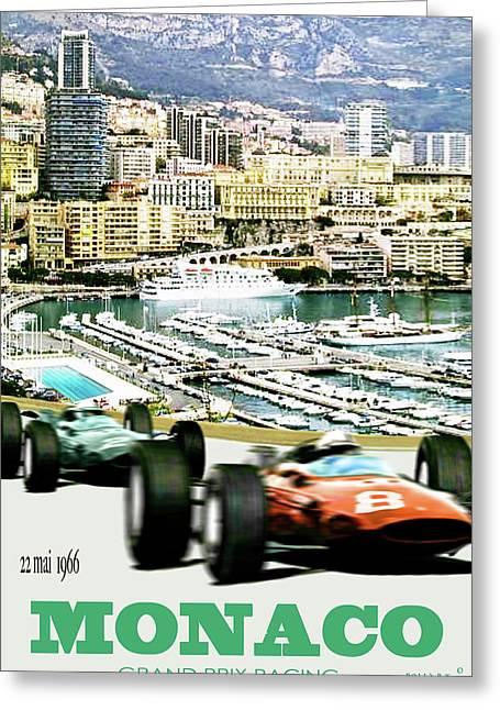 Monaco Grand Prix Racing Poster - Original Art Work Greeting Card