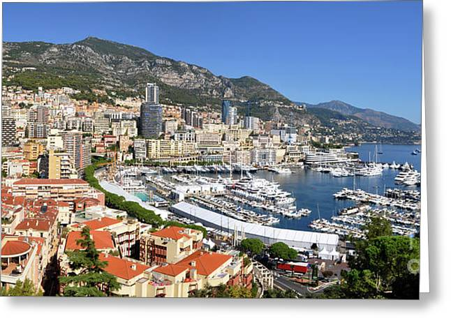 Greeting Card featuring the photograph Monaco Port Hercule Panorama by Yhun Suarez