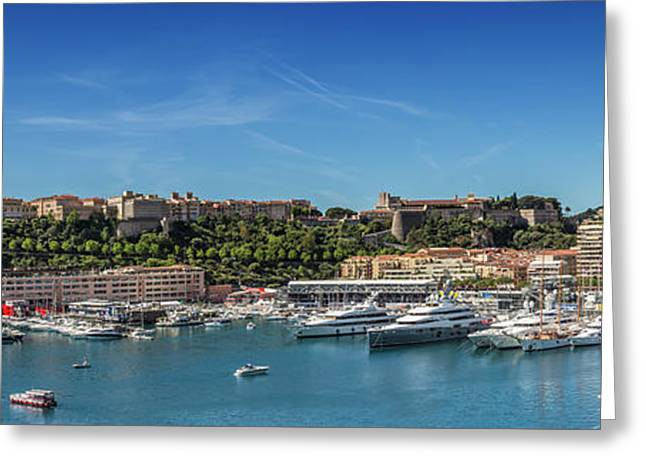 Monaco Port Hercule - Panoramic Greeting Card by Melanie Viola