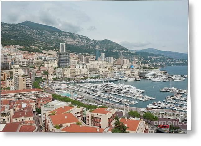Monaco View Across The Port De Monace. Greeting Card