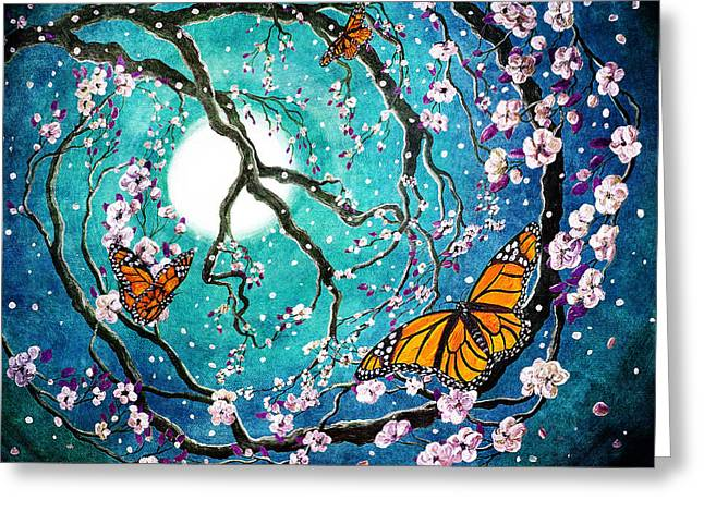 Monarch Butterflies In Teal Moonlight Greeting Card by Laura Iverson