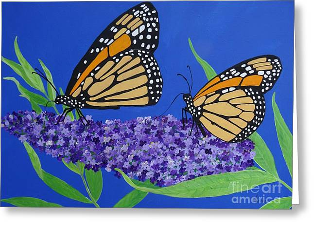 Monarch Butterflies On Buddleia Flower Greeting Card