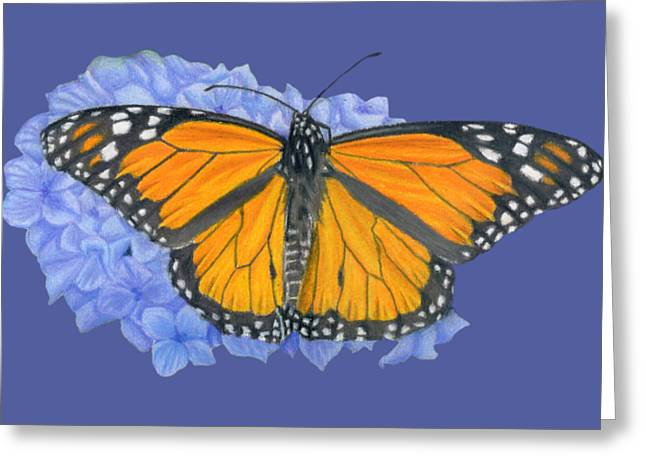 Monarch Butterfly And Hydrangea- Transparent Background Greeting Card