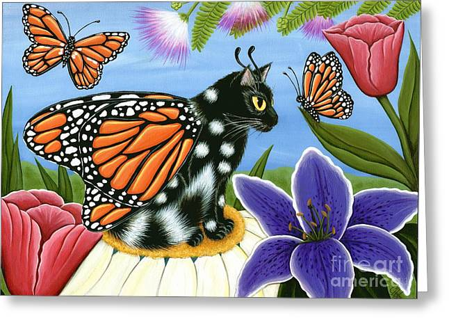 Monarch Butterfly Fairy Cat Greeting Card
