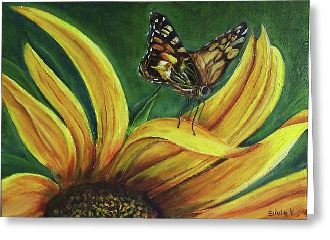 Monarch Butterfly On A Sunflower Greeting Card by Silvia Philippsohn