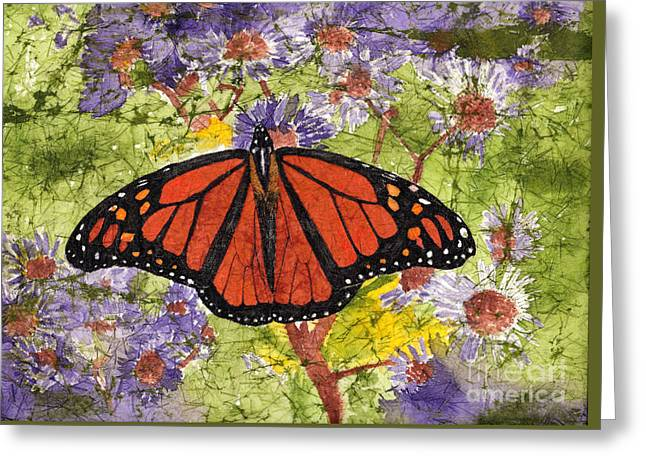 Monarch Butterfly On Purple Flowers Watercolor Batik Greeting Card
