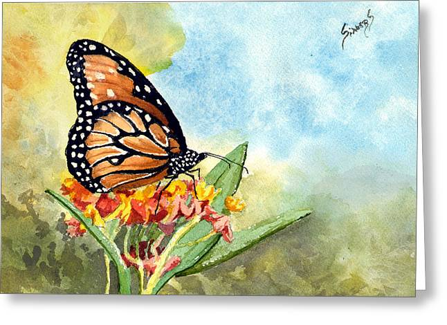 Greeting Card featuring the painting Monarch Butterfly by Sam Sidders