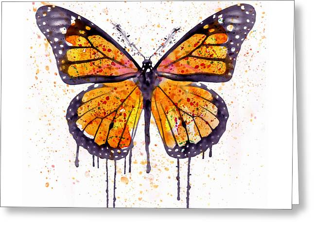 Monarch Butterfly Watercolor Greeting Card by Marian Voicu