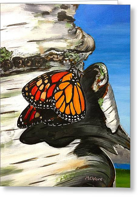 Monarch On Birch Greeting Card