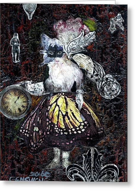 Monarch Steampunk Goddess Greeting Card by Genevieve Esson