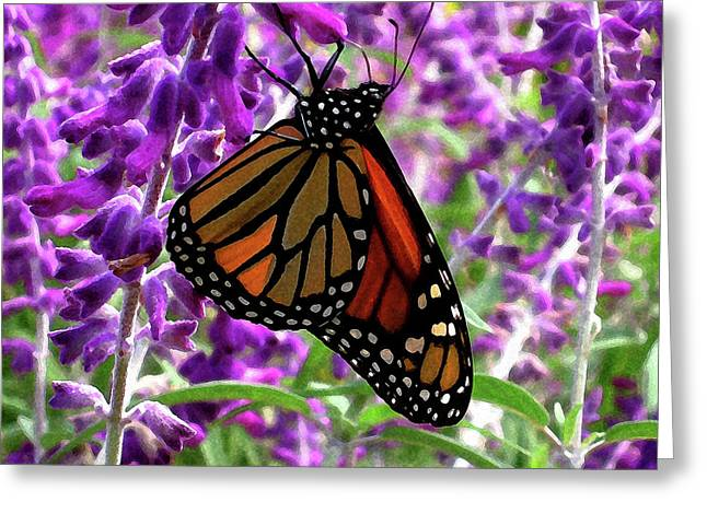 Greeting Card featuring the digital art Monarch by Timothy Bulone