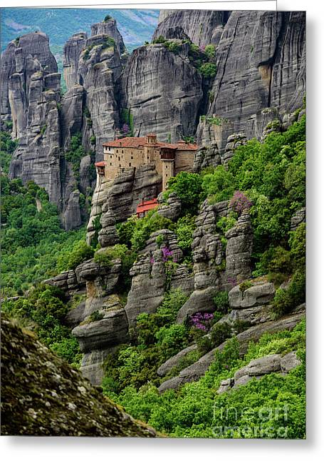 Monastery Of Saint Nicholas Of Anapafsas, Meteora, Greece Greeting Card