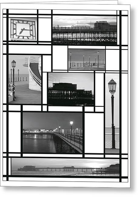 Mondrian Pier Greeting Card by Hazy Apple