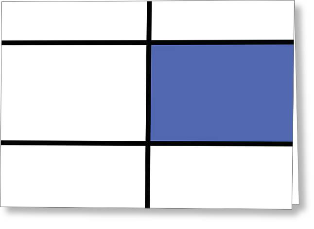 Mondrian Style Minimalist Pattern In Blue 01 Greeting Card