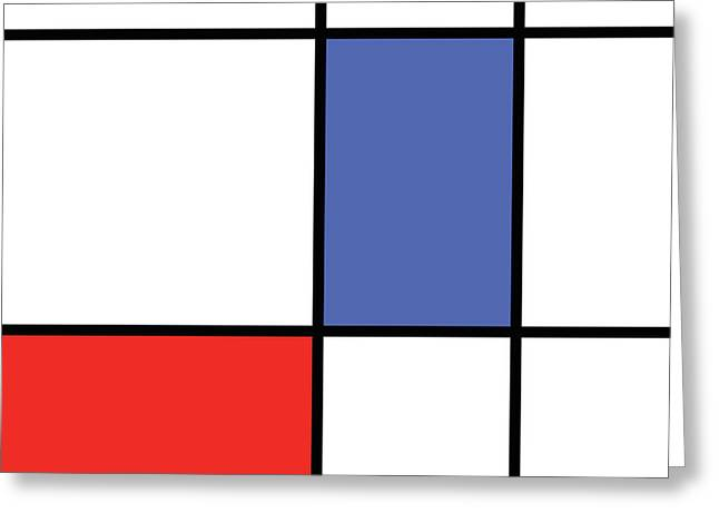 Mondrian Style Minimalist Pattern In Blue And Red Greeting Card