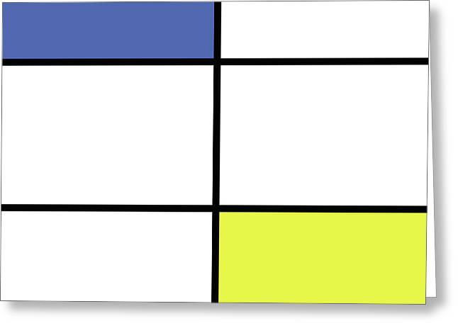 Mondrian Style Minimalist Pattern In Blue And Yellow Greeting Card