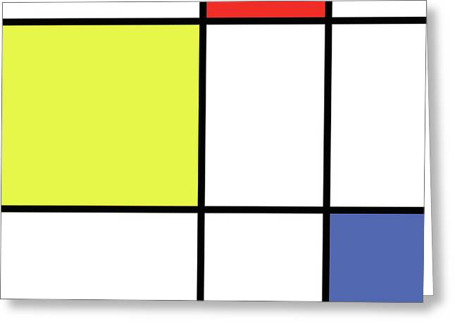 Mondrian Style Minimalist Pattern In Blue, Red And Yellow 01 Greeting Card