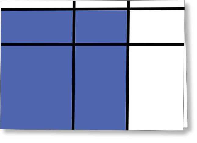 Mondrian Style Minimalist Pattern In Blue Greeting Card