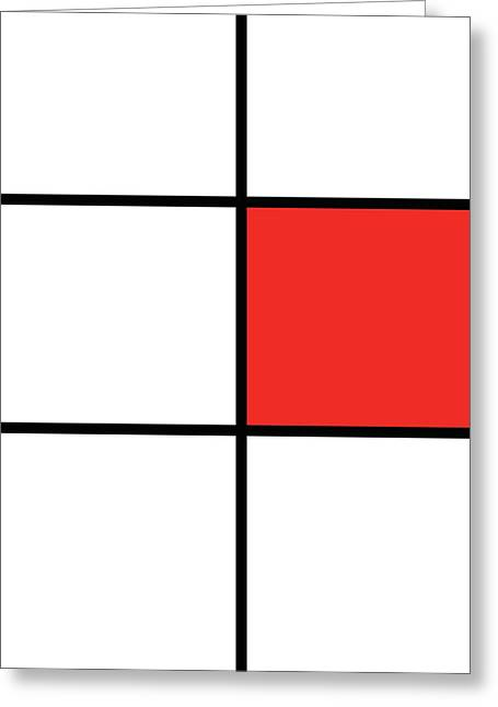Mondrian Style Minimalist Pattern In Red 02 Greeting Card