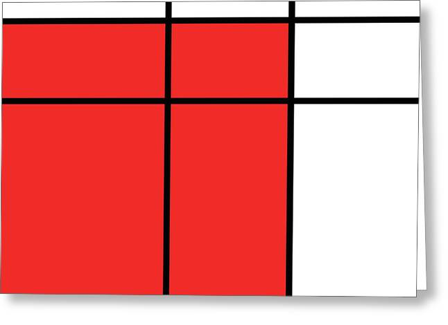 Mondrian Style Minimalist Pattern In Red Greeting Card