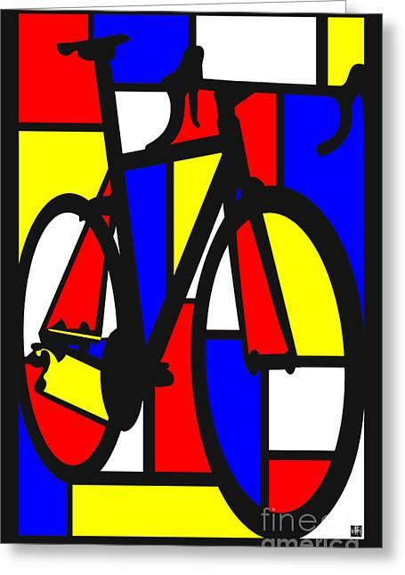 Mondrianesque Road Bike Greeting Card