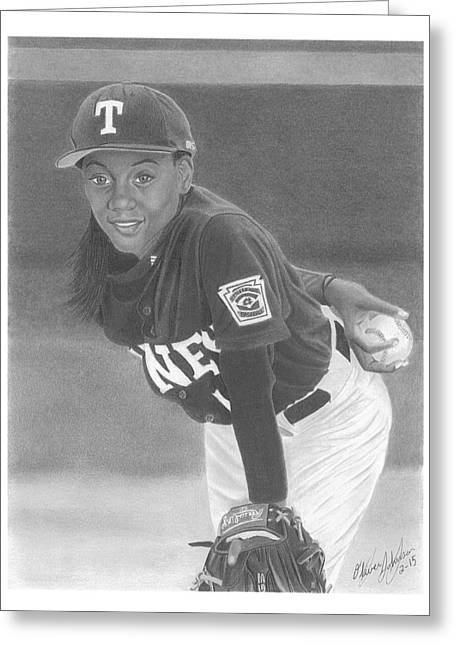 Mo'ne Davis Greeting Card by Oliver Johnson