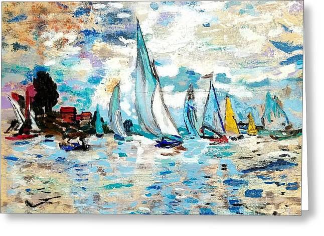 Monet Boats On Water Greeting Card