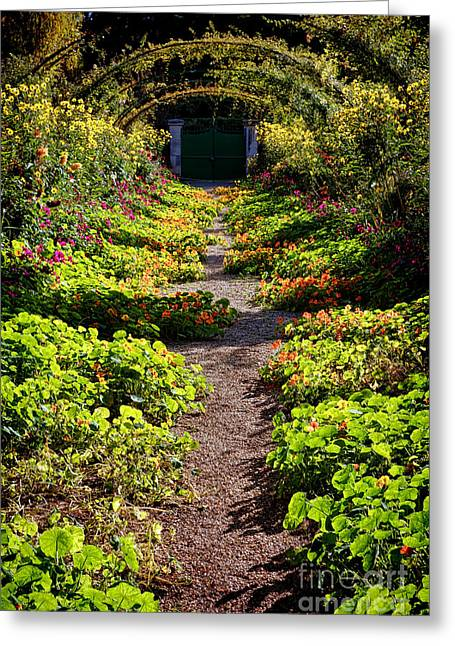 Monet Garden Path  Greeting Card by Olivier Le Queinec