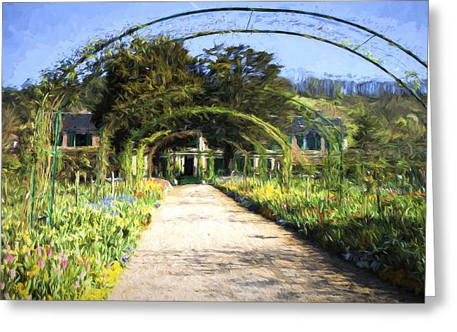 Monet House And Spring Garden In Giverny Greeting Card by David Smith