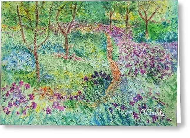 Monet Inspired Iris Garden Greeting Card