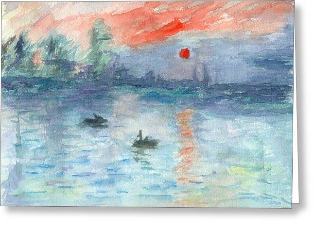 Monet Inspired Sunrise Greeting Card by William Burgess