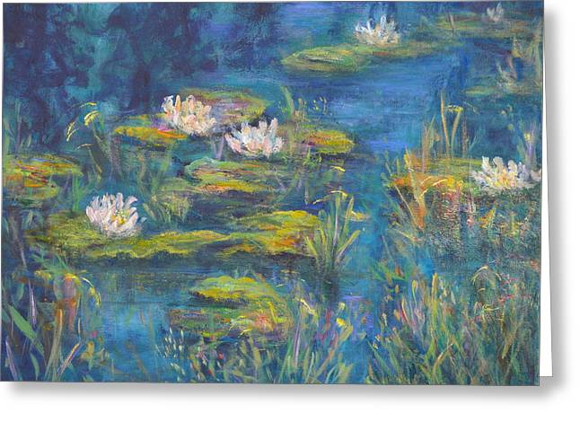 Monet Style Water Lily Marsh Wetland Landscape Painting Greeting Card