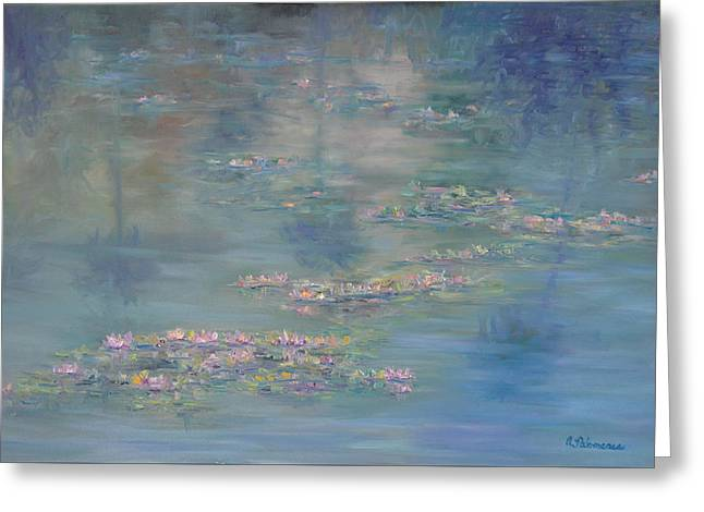 Monet Style Water Lily Peaceful Tropical Garden Painting Print Greeting Card