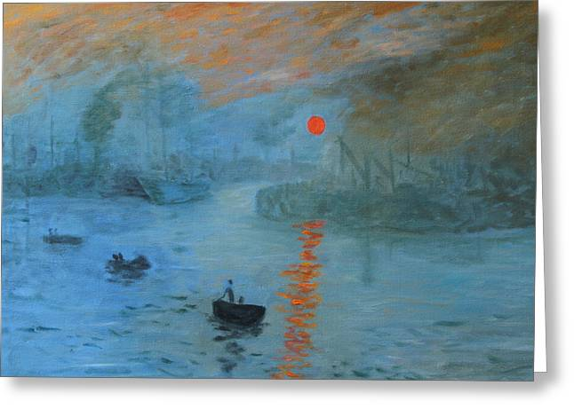 Monet Sunrise By Dg Greeting Card