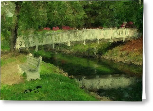 Monet's Bridge Greeting Card by Eddie Durrett