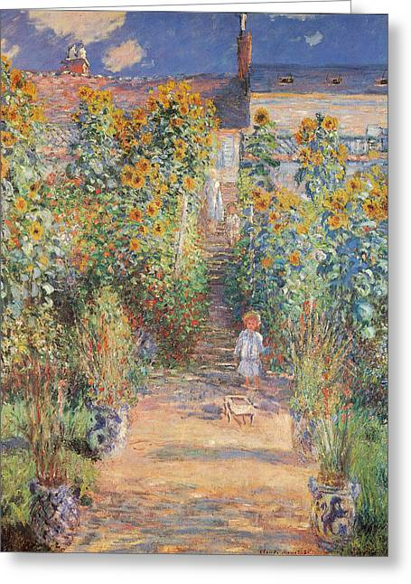 Monets Garden In Vetheuil Greeting Card